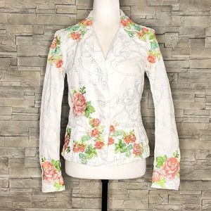 Johnny Was white embroidered jean jacket